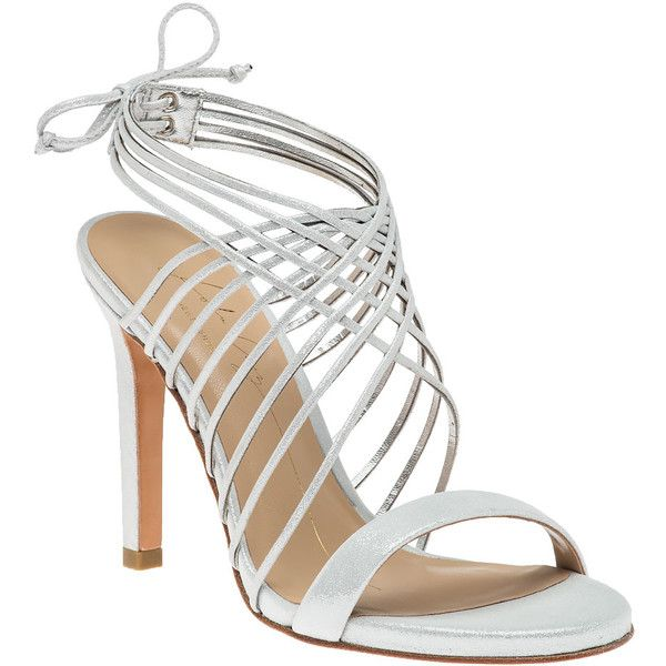 LOLA CRUZ 065z37bk Silver Sandal ($250) ❤ liked on Polyvore featuring shoes, sandals, silver, silver strappy sandals, high heel sandals, strappy high heel sandals, evening shoes and criss cross strap sandals