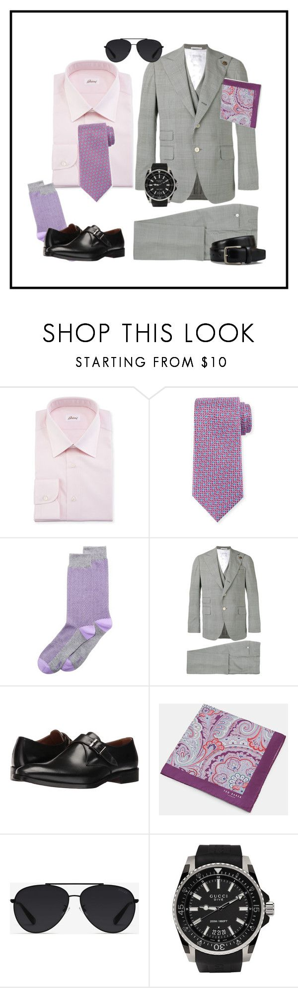 """Men's Suit, Dapper"" by kvogele ❤ liked on Polyvore featuring Brioni, Ermenegildo Zegna, Bar III, Gabriele Pasini, Kenneth Cole, Ted Baker, Bally, Gucci, Tod's and men's fashion"