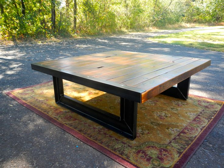 Reclaimed wood and welded steel industrial style coffee table