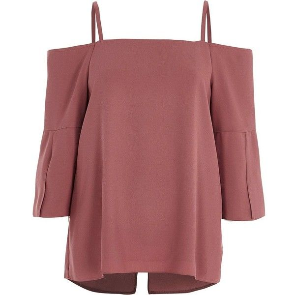 River Island Dark pink bardot split sleeve top (£42) ❤ liked on Polyvore featuring tops, bardot / cold shoulder tops, pink, women, red 3 4 sleeve top, loose cami top, woven top, red cami and three quarter sleeve tops
