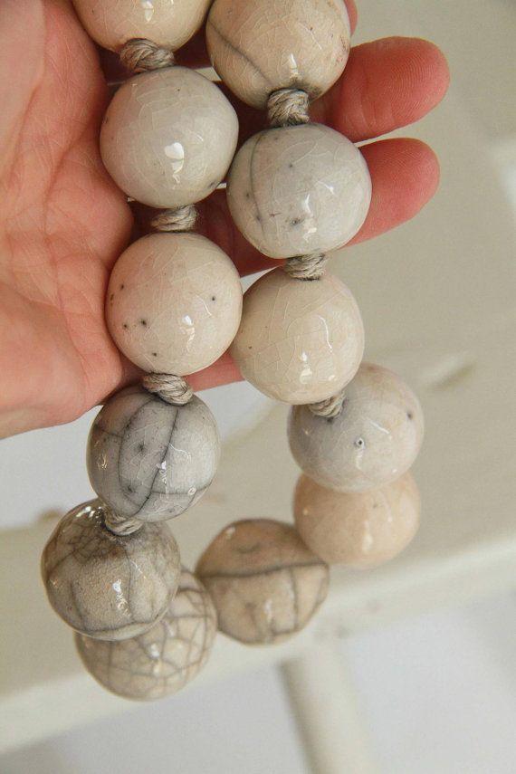 White raku pottery necklace by AtelierSimio on Etsy
