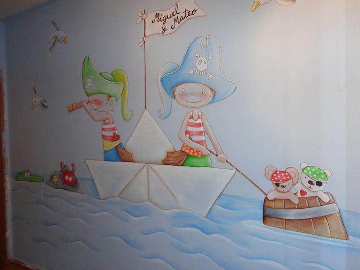 mural infantil habitacion piratas