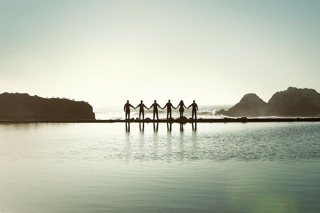 My latest indie band obsession: The Family Crest • love the silhouette band photo at Sutro Baths