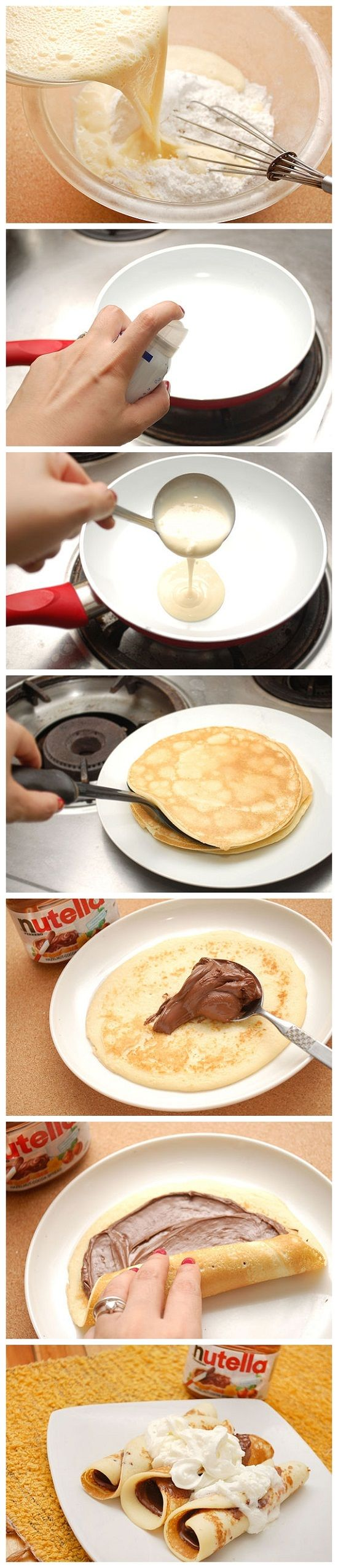 Great presentation sequence to make best Crepes w/ #Nutella