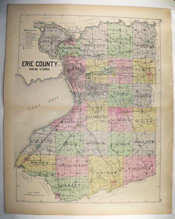 1912 Large Map Erie County NY Buffalo Map, Vintage Map, New York Genealogy History Art Map, Wedding Gift for Couple, Tonawanda NY Amherst available from OldMapsandPrints on Etsy