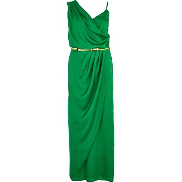 River Island Green asymmetric maxi slip dress ($29) ❤ liked on Polyvore featuring dresses, sale, asymmetrical draped dress, river island dresses, satin maxi dress, maxi dresses and river island