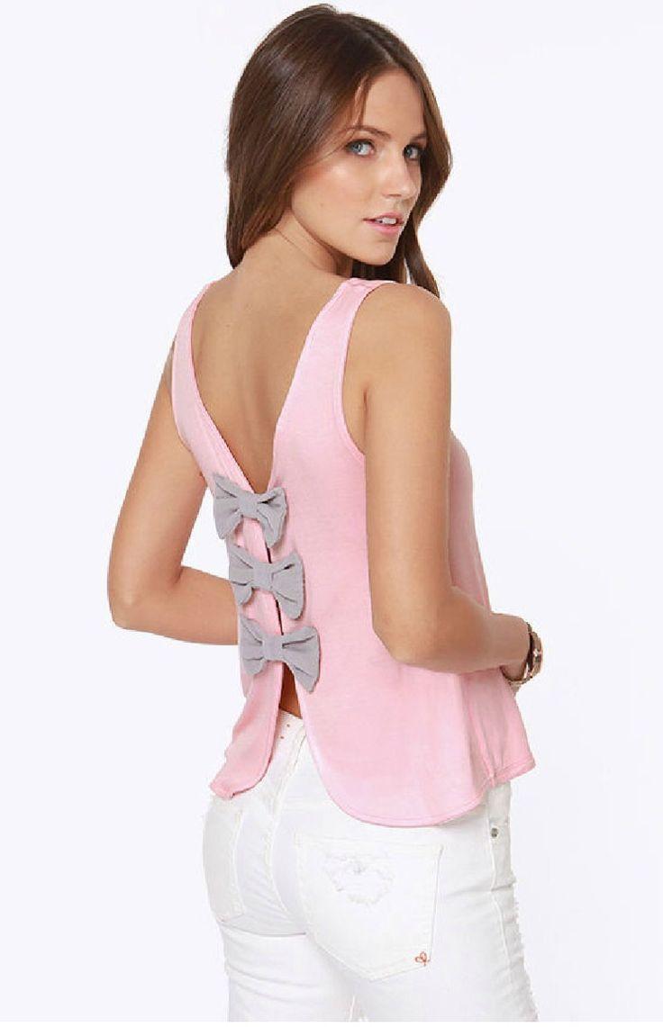 Blusa color rosa con moños en la espalda Perfecta para esta Primavera 2016