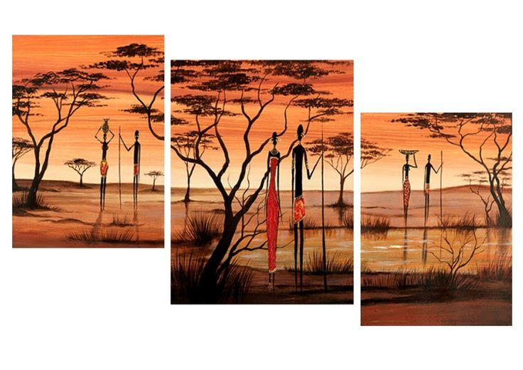 Cuadros modernos tripticos paisajes africanos texturados - Cuadros tripticos ...