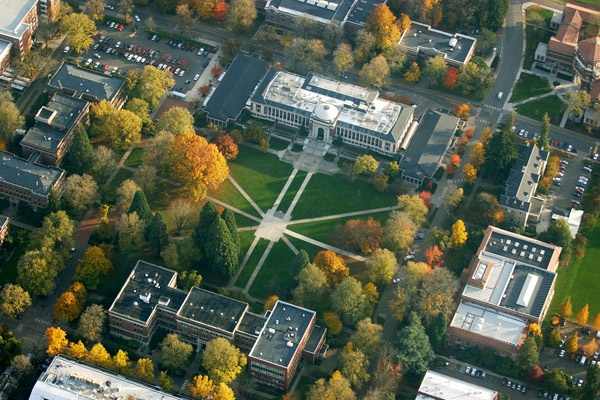 "Aerial view of University of Oregon campus. ""The Quad"". Eugene, Oregon. http://www.princetonreview.com/schools/1023390/college/oregon-state-university#!campuslife"