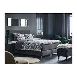 IKEA - DUNVIK, Boxspringbett, Hövåg mittelfest/Tustna dunkelgrau, 160x200 cm, Bjorli, , Das klassische Aussehen eines Boxspringbetts mit weichem Kopfteil, rundum bezogen – perfekt, um in voller Größe mitten im Raum zu stehen. Falls ein Malheur passiert, ist es gut zu wissen, dass die Bezüge waschbar sind.Die einzeln umhüllten Taschenfedern reagieren punktgenau und gewährleisten so eine optimale Druckverteilung und ergonomische Anpassung an die Körperform.Latex und Wolle in der Matratzen...