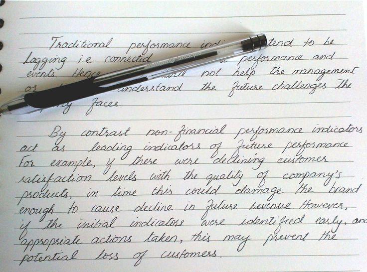 Beautiful handwriting on a financial report.