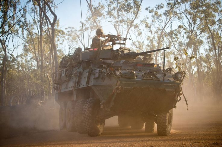 A New Zealand Army Queen Alexandra Mounted Rifles Light Armoured Vehicle moving through the Shoalwater Bay Training Area, Queensland, during Exercise Talisman Sabre 2015.