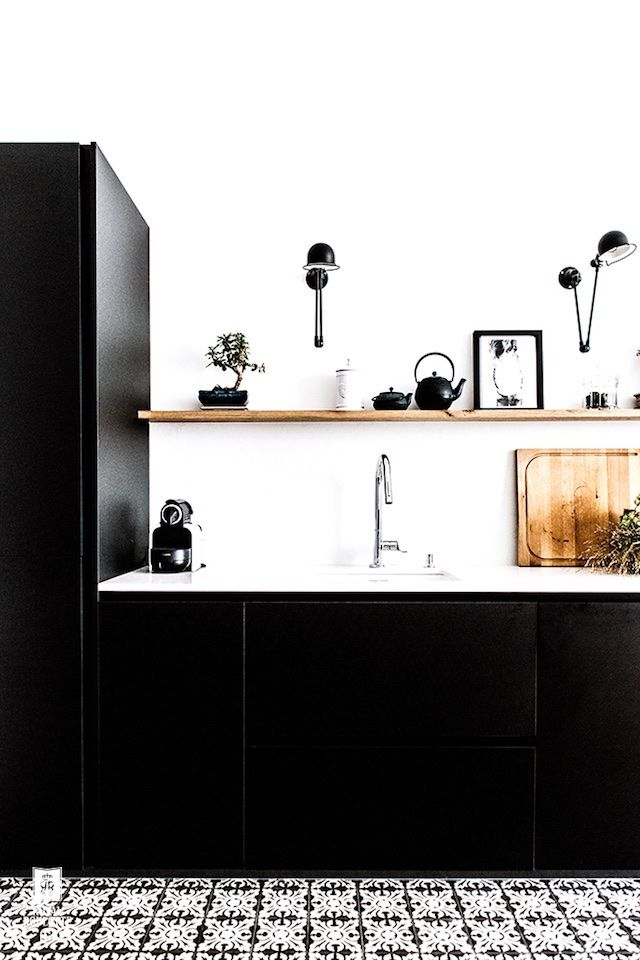 Black And White Parisian Kitchen