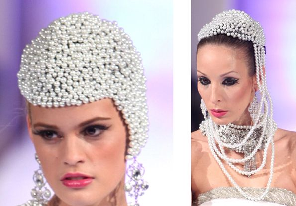 These beaded headpieces have gorgeous white glass pearls on a crocheted wire bed