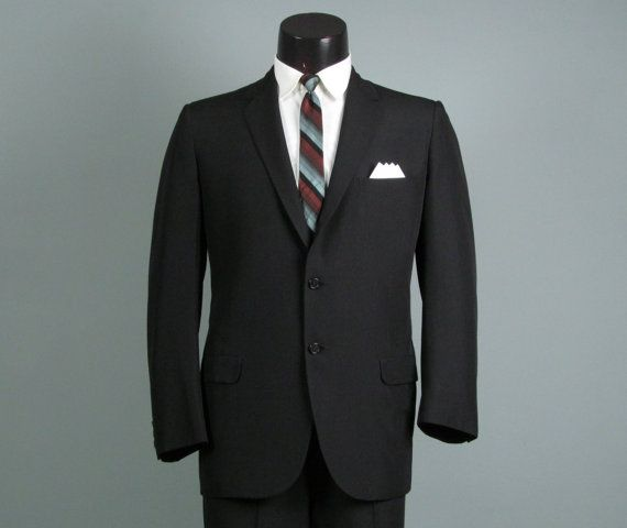 Vintage Mens Suit 1960s Trad Jet Black Hickey Freeman