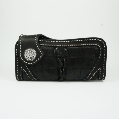 BLACK CROCODILE LEATHER HANDCRAFTED Men's BIKER BIFOLD LONG WALLET hs-w015