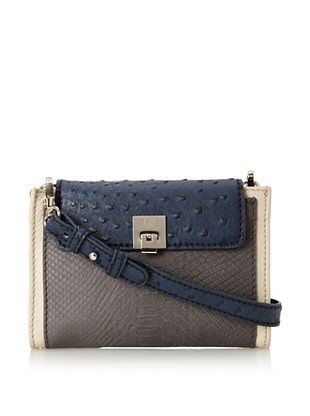 Charlotte Ronson Women's Mixed Exotic Cross-Body (Grey)
