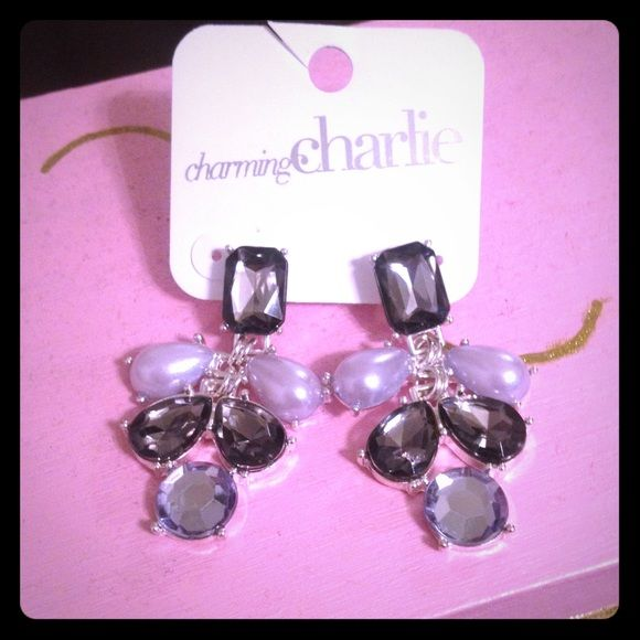 Gunmetal lavender chandelier earrings GORGEOUS NWT Charming Charlie Charming Charlie Jewelry Earrings