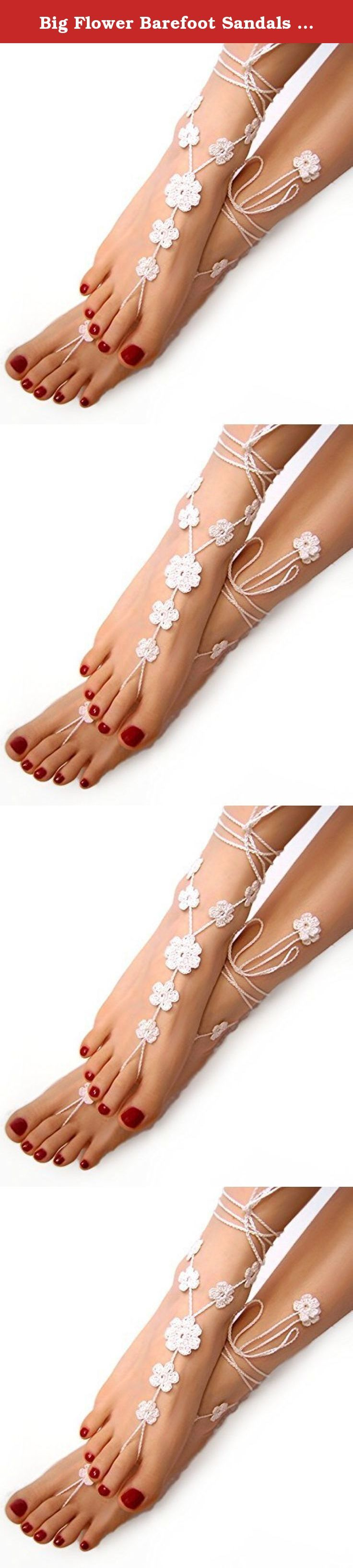 Big Flower Barefoot Sandals in White, Beach Wedding Foot Jewelry. Sexy White flower barefoot sandals, so hot and so sophisticated. Hand made of very thin mercerized cotton. Strings ended with flowers too. You have to have this beautiful foot jewelry!! Crochet with 100% thin mercerized cotton in snow white, very delicate and comfortable. One size fits all GIFT PACKING included. Ivory sandals available also with Amazon Prime. Other colors available in the shop will be sent from Poland. This...