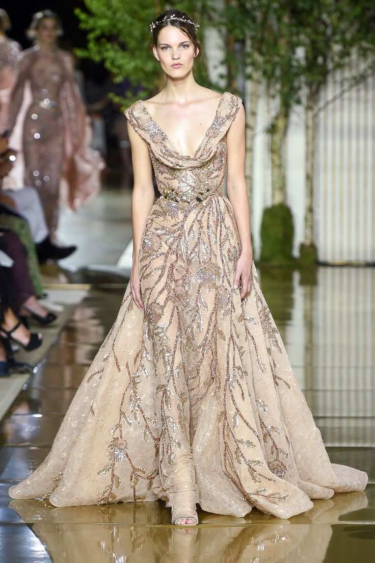 Powerful and modern, Zuhair Murad is the ultimate in haute couture with thousands of dazzling crystals, embroidery, lace and beading showering a romantic bodice.