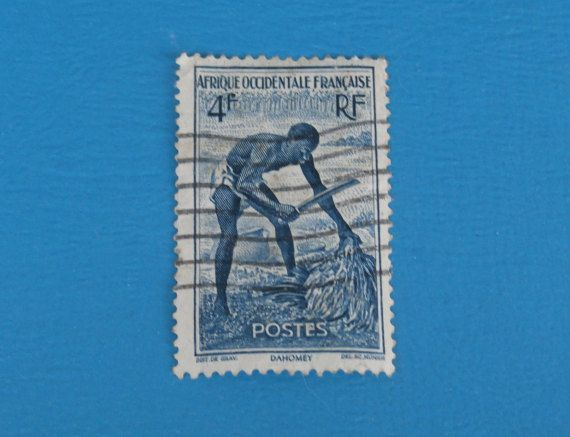 Dahomey French French West Africa 4 F Used Vintage Postage Stamp - blue and white