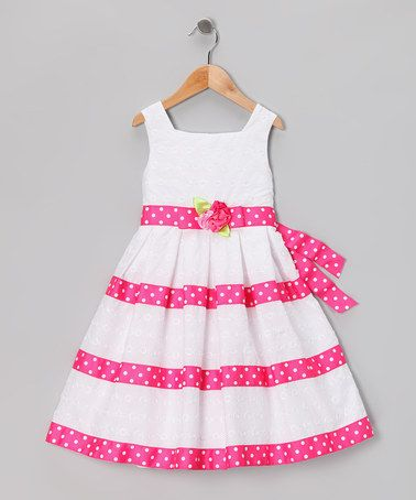 Take a look at this White & Pink Eyelet Dress - Girls Plus by Sweet Heart Rose on #zulily today!