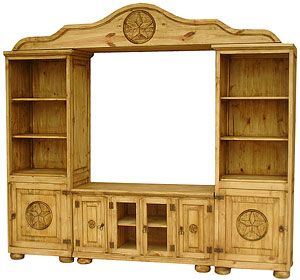 A wall of storage is at your fingertips with this rustic entertainment center.  The middle provides space for your TV and there's shelf space on the sides to store DVDs, videos, CDs, or books.  The bottom cabinet with its ample shelving gives you space for audio and video equipment.  The fine Mexican workmanship is evident in the bonnet top and distressed finish.  The southwestern, rustic style goes well with many other types of decor.