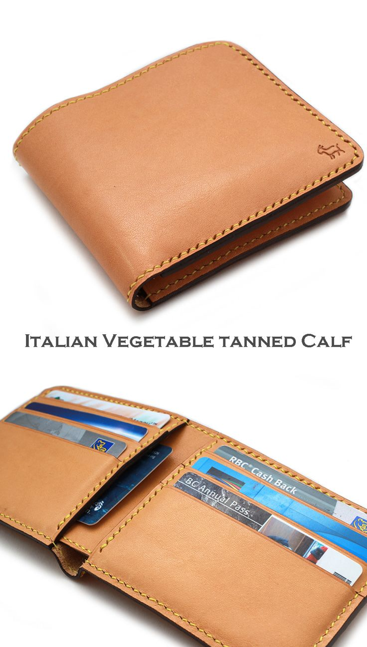 Premium Italian Calf Men's Leather wallet, Hand Stitched Bi fold, Bill fold wallet in Camel. It will be developed patina over time. This is hand stitched and lasts a life time. Men's wallet. Great for groomsmen gift.