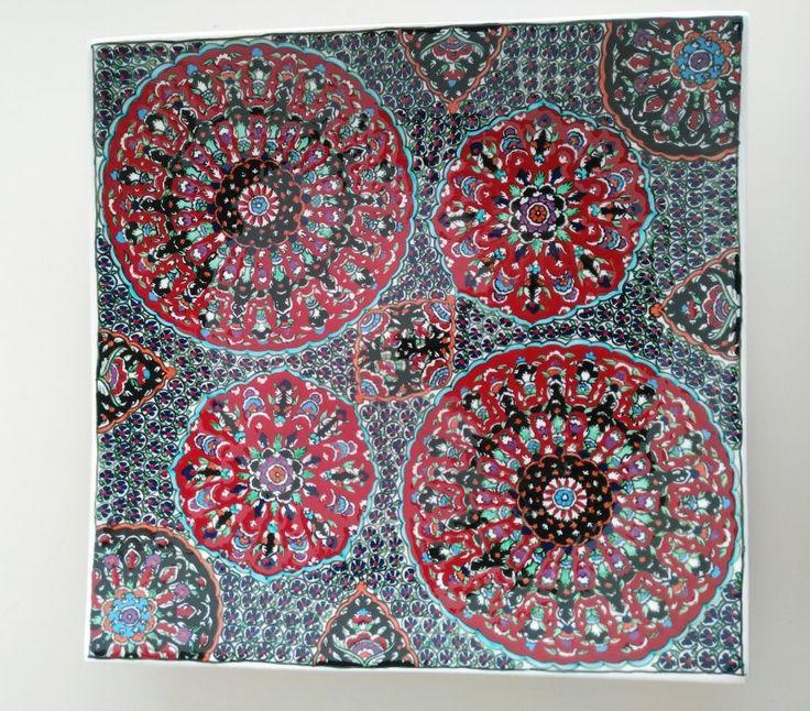 SQUARE OTTOMAN STYLE TURKISH CERAMIC PLATE, 40 cm
