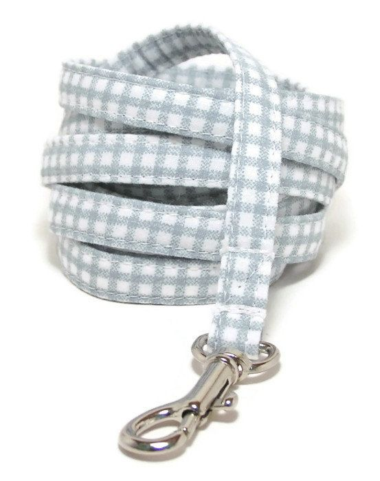 XS Leash  Soft Blue Gingham  xs 3/8 wide 4 or 6 Feet by PawsnTails, $23.00