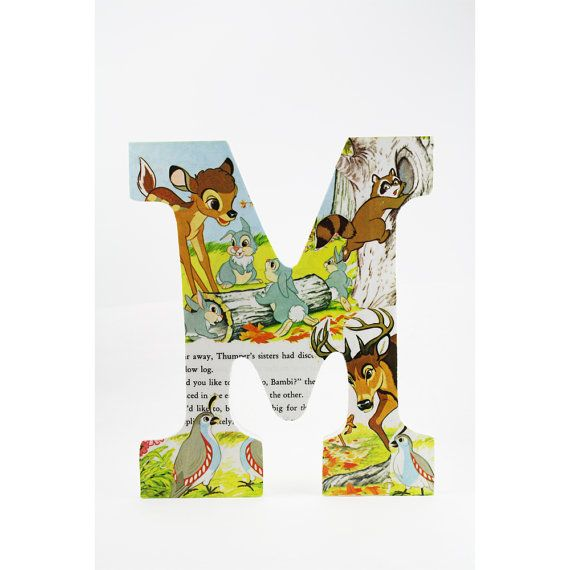 Disney room letters - Great idea - get some cheap wooden letters and some old cinderella, snow white, etc books and mod podge them onto the letters!