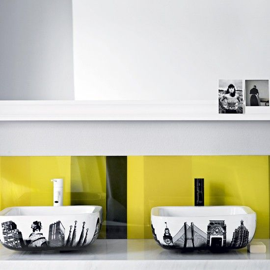 great diy idea to add color to my kitchen after I paint the walls white... Install a vibrant splashback - For the look of costly back-painted glass without splashing out, paint your own panel of Perspex.