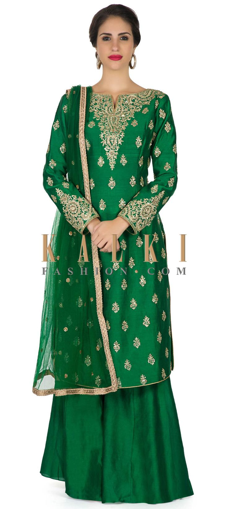 Dark green palazzo suit embellished in zari embroidery only on Kalki