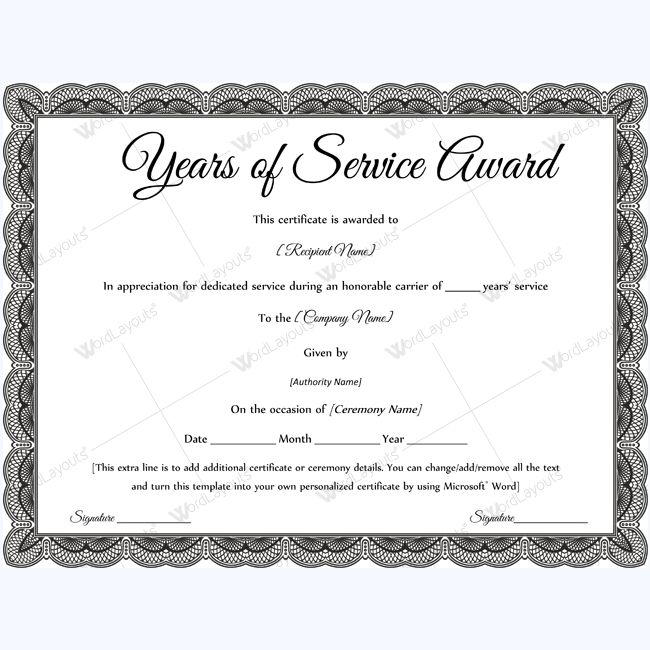 Sample of years of service award awardcertificate for Certificate of service template
