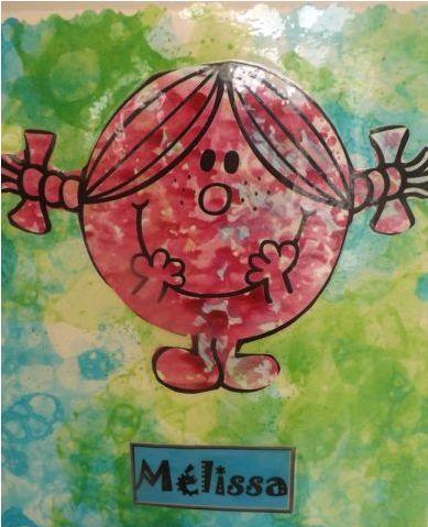 encre bulle pour le fond et papier bulle et peinture pour le personnage