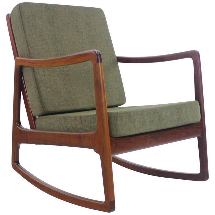Danish modern teak rocker designed by ole wanscher danishes danish modern and danish modern - Selig z chair reproduction ...