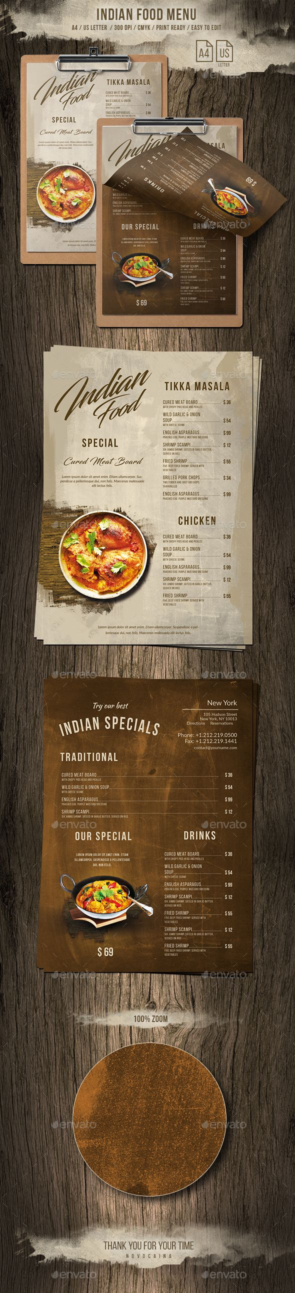 Indian A4 & US Letter Single Page Food Menu - Food Menus Print Templates Download here : https://graphicriver.net/item/indian-a4-us-letter-single-page-food-menu/20691932?s_rank=17&ref=Al-fatih #food menu #food menus template #flyer food #design #promotion #template #print templates #restaurant  #bifold #trifold #premium design #table tent