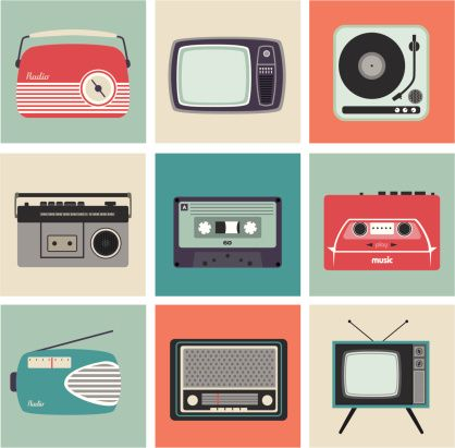 Retro Radio, TV and Other Electronic Equipment vector art illustration