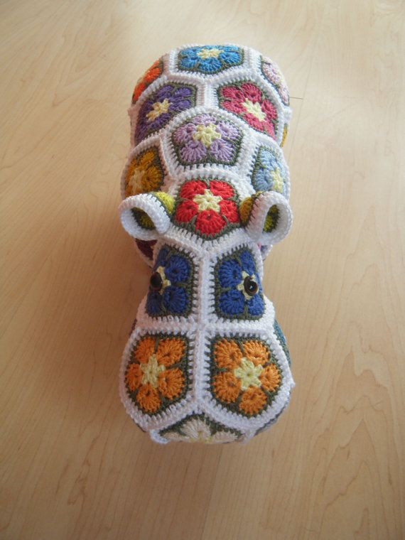 Crochet hippopotamus made out of African Flowers: