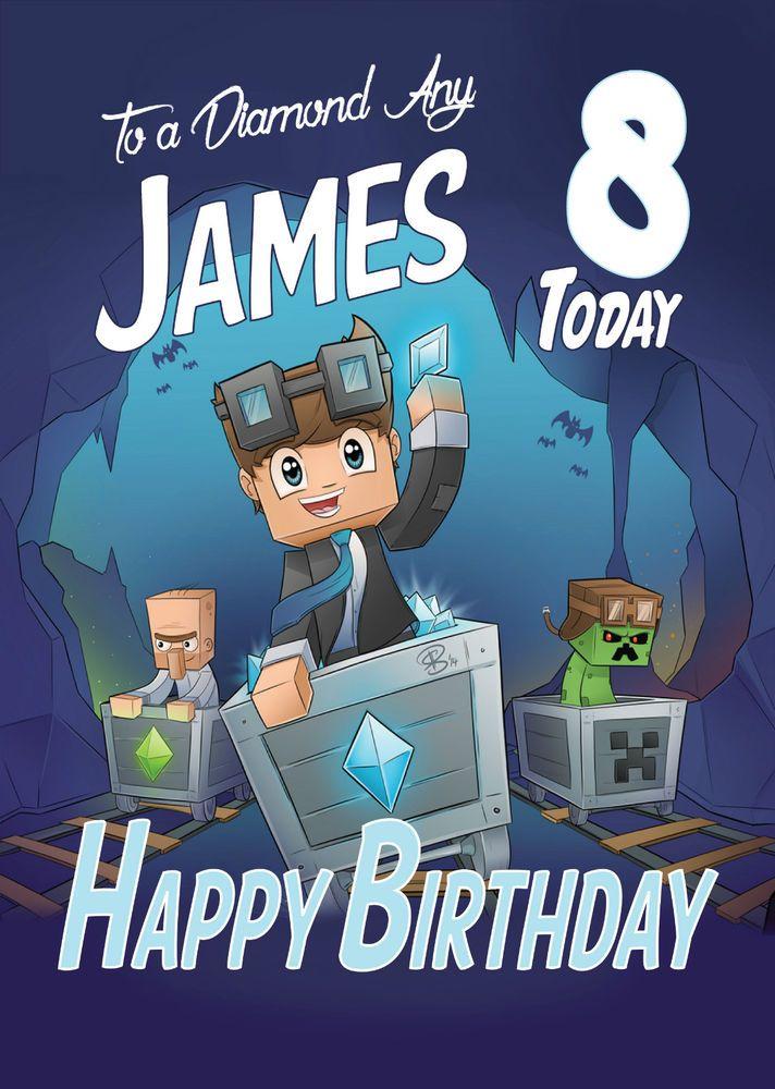 Dan Tdm MINECART Personalised Birthday Card FREE 1ST