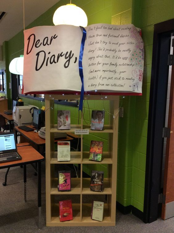 This creative, crafty DIY library display is a great way to make a bookshelf filled with epistolary books for YA readers pop.