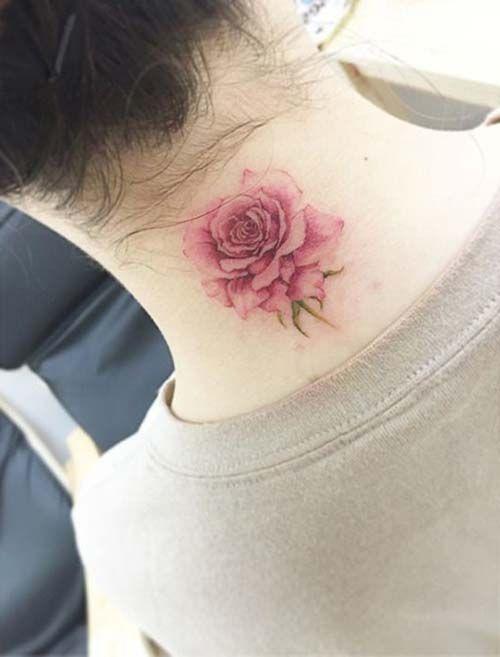 neck pink rose tattoo ense pembe gül dövmesi