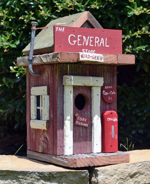Rustic Birdhouse - Primitive Birdhouse - General Store Birdhouse