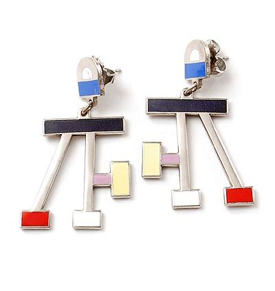 ETTORE SOTTSASS 1917-2007 - Enamelled earjewellery executed for Acme / USA ca.1990