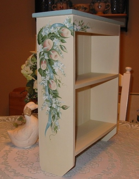 Hand Painted Cream Roses Cabinet