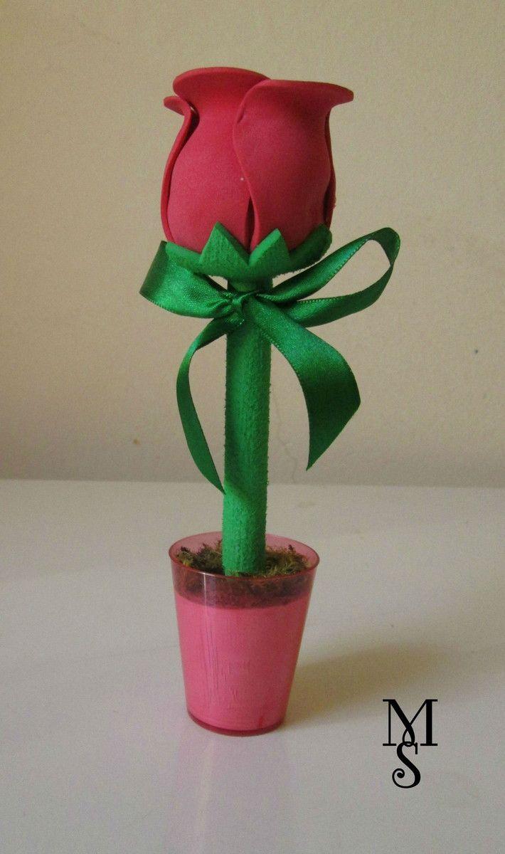 Caneta Decorada Rosa em E.V.A