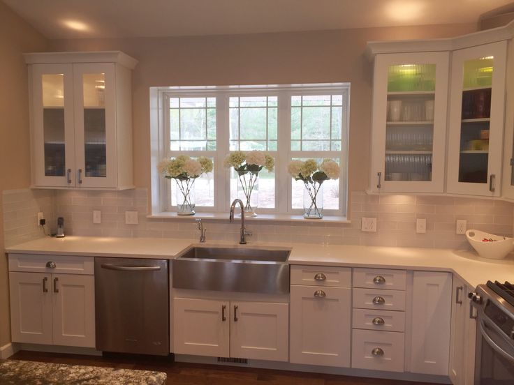 White shaker style kitchen cabinets with hickory hardware studio pulls p3010 sn and - Shaker kitchen cabinet hardware ...