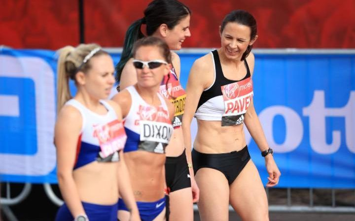 Jo Pavey (right) at the start of the Elite Women Race of the Virgin Money London Marathon.