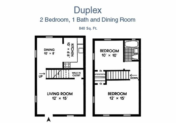 Morningside Gardens Two bedroom Town home floor plan - 2 Bed, 1 bath & dining room, 840 sq. ft.