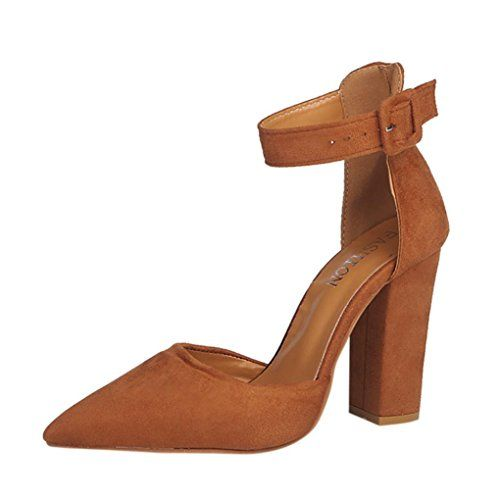 29fa368e020454 OVERDOSE Chaussures Pointues Pointure Large à Talons Hauts Sexy Femme  Sandales High Heels (37 Marron